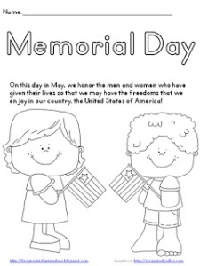 cute page for little learners to color memorial day word search