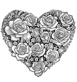 rose heart coloring page