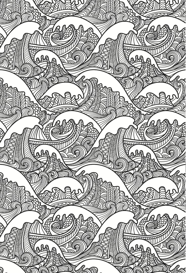 free printable coloring pages for adults zen : Waves Coloring Page