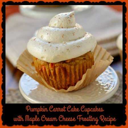 Pumpkin Carrot Cake Cupcakes with Maple Cream Cheese Frosting Recipe